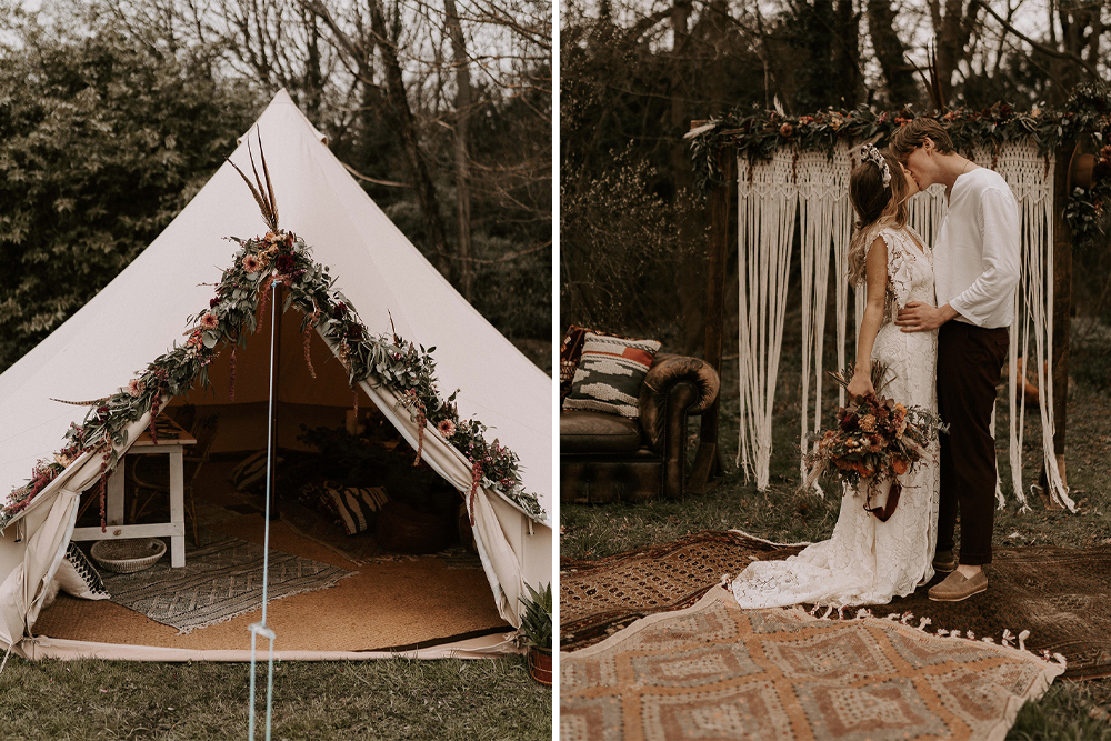 Bell Tent and Boho Style with Fringe Wedding Dresses and Grazing Tables by Wonderland Invites, Rock The Day Styling and Kelsie Low Photography