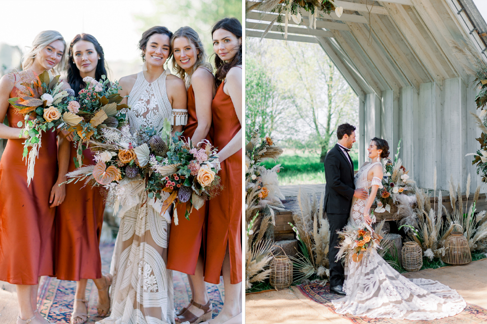 Rue De Seine Boho Wedding Dress & Bohemian Inspiration with Pampas Grass, Naked Tipi's and Grazing Tables at Wilderness Wedding Venue, Kent by Jo Bradbury