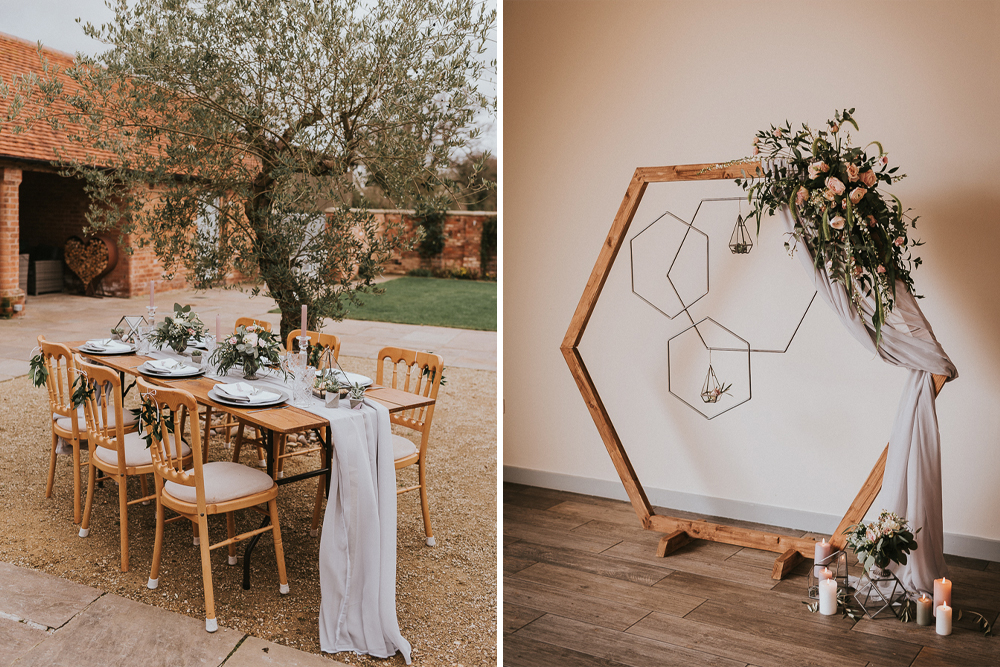 2481e194 Wooden Hexagonal Arch and Geometric Inspiration with Terrariums, Blush Pink  Flowers, Candles and Romantic