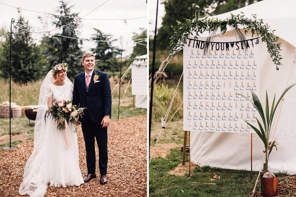DIY Peg Board Seating Chart and Copper Frame Welcome Sign for a Sperry Tent Wedding with Bride in Separates by Sam Docker Photography & Dan Dolan Films