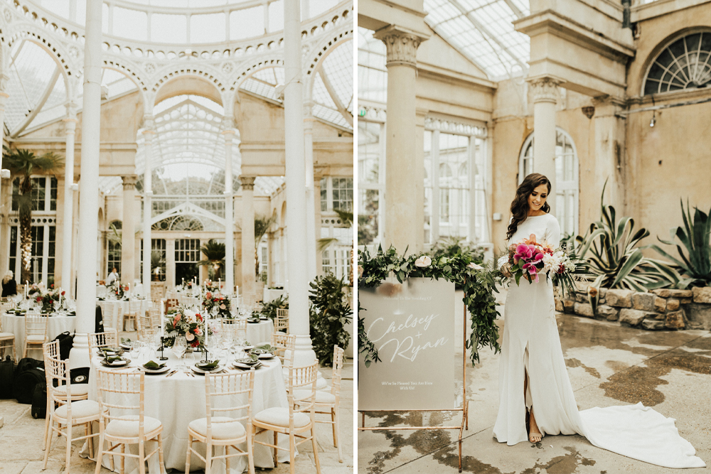 Homemade Wedding Dress for a Tropical Wedding at Syon Park by Darina Stoda, with Laser Cut Place Settings, Neon Sign and White Bridesmaids Dresses