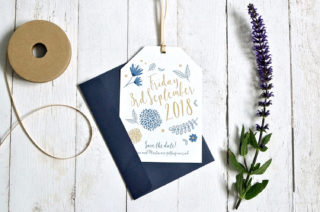 Littlebird Weddings Stationery Navy and Gold Save The Dates