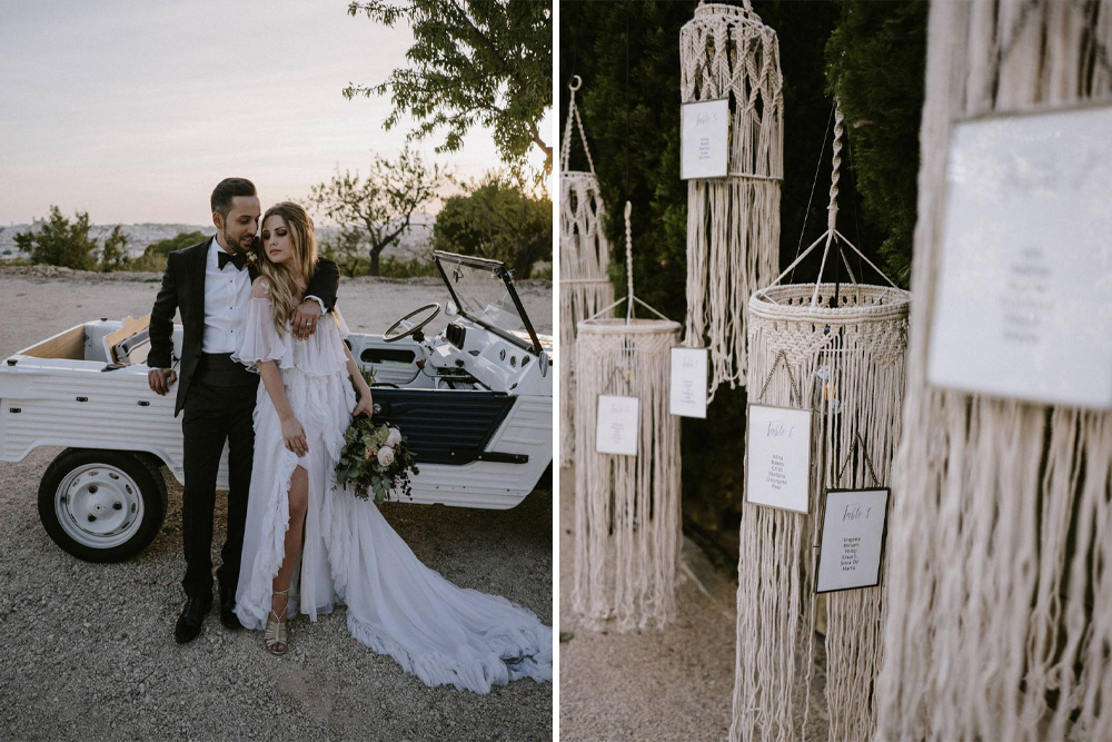 Macrame Table Plan for a Stylish Outdoor Wedding in Spain Planned by Paloma Cruz Eventos with Bride in Penelope Dress by Otilia Brailoiu, by Marcos Sánchez