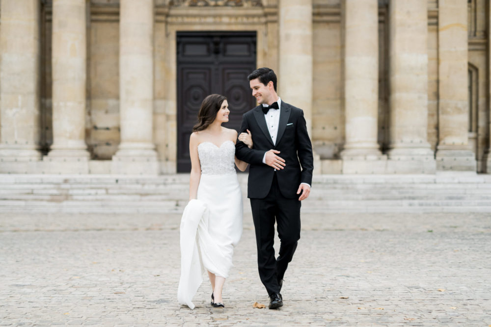 Paris Elopement with Black-Tie Wedding Style and Glamourous Black and Gold Colour Scheme. Captured by Claire Morris Photography