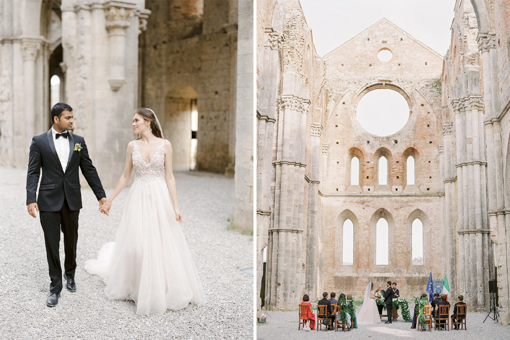 Intimate Tuscany Wedding at an Open Air Church with Black Tie Attire and Bride in Rara Avis, shot by Nastia Vesna Photography