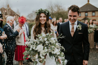 Boho Wedding with Bride in 'Grace Love Lace' Wedding Dress & Foliage Flower Crown