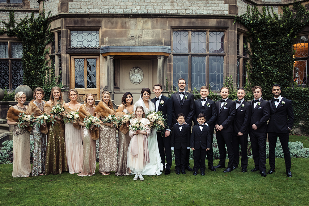 New Year's Eve Wedding at Thornbridge Hall Derbyshire with Bridesmaids in Gold Sequin Dresses, Bride in Lace Pronovias Wedding Dress by Leigh Mcara