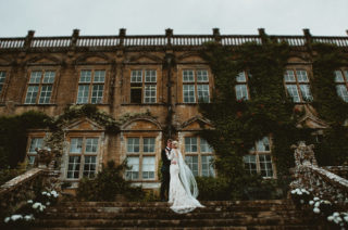 Great Gatsby Theme at Brympton House with Vintage Lace Wedding Dress