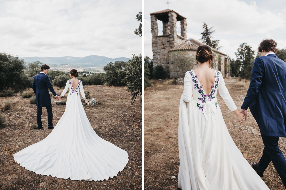 Embroidered Wedding Dress by Nnavascues for a Spanish Destination Wedding at Finca el Tomillar in Madrid by Lísola Fotografia
