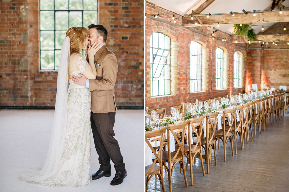 Light Pink & Green Embroidered Cassiopeia Jenny Packham Wedding Dress for a Botanical London Wedding at Loft Studio's by Caught The Light Photography