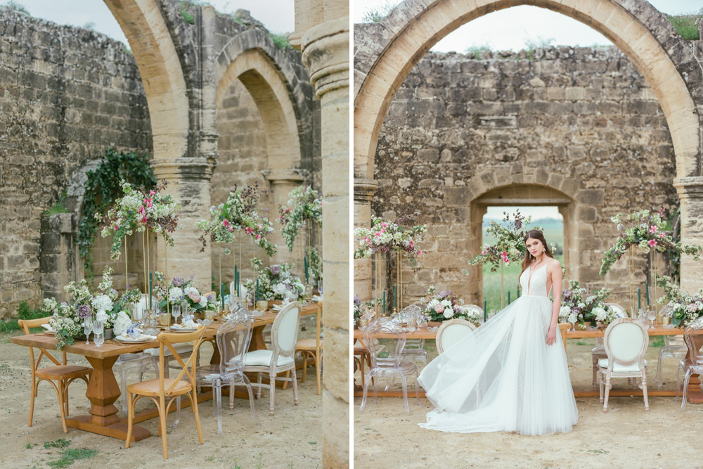 Agios Sozomenos Cyprus Wedding Venue with Romantic Wedding Flowers and Decor and Bride in Leather Jacket by Antonis Prodromou