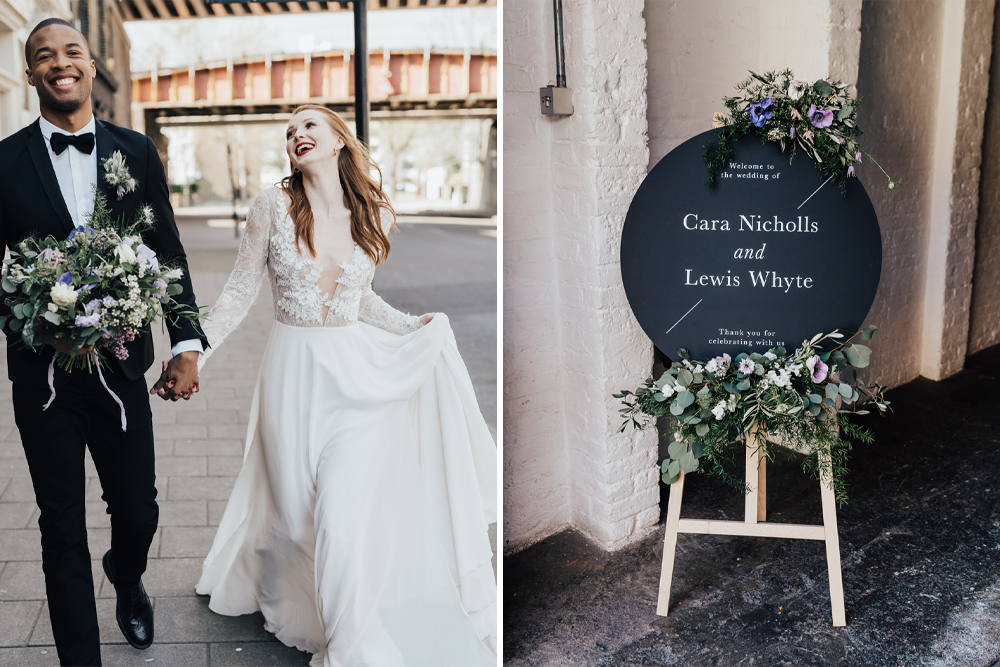 Morgan Davies Bridal Gowns with Wedding Signage and Feminine Florals Make This Industrial Inspiration Shoot a Dream by Rebecca Carpenter Photography