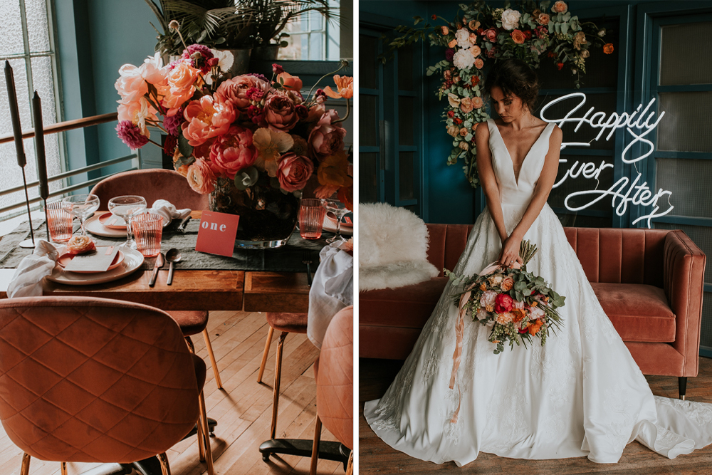 Living Coral Wedding Inspiration by Aurora Grey Photography with Retro Neon Lights, Bright Wedding Flowers, Statement Wedding Stationery and Delicious Cakes