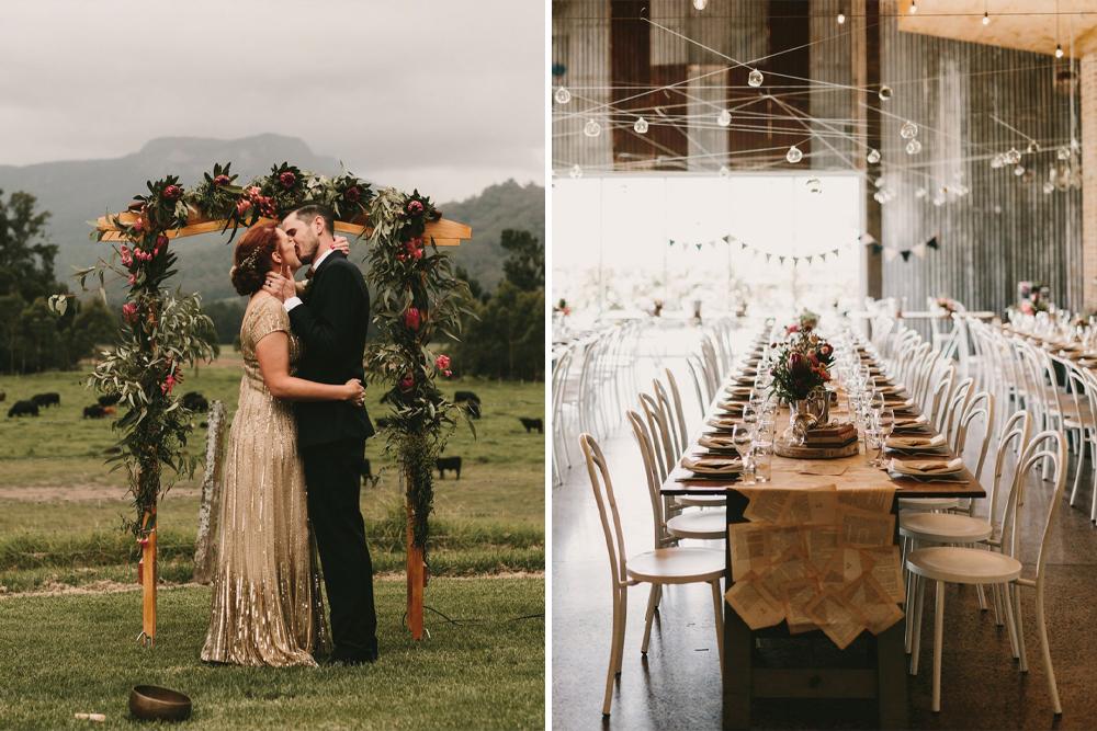 Gold Wedding Dress for an Outdoor Australian Wedding with Literacy Decor
