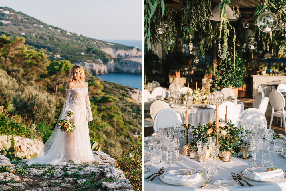 Flora Bridal Wedding Dress for a Bohemian Capri Wedding with Peach Flowers Planned by Capri Moments and Photographed by Gianni di Natale