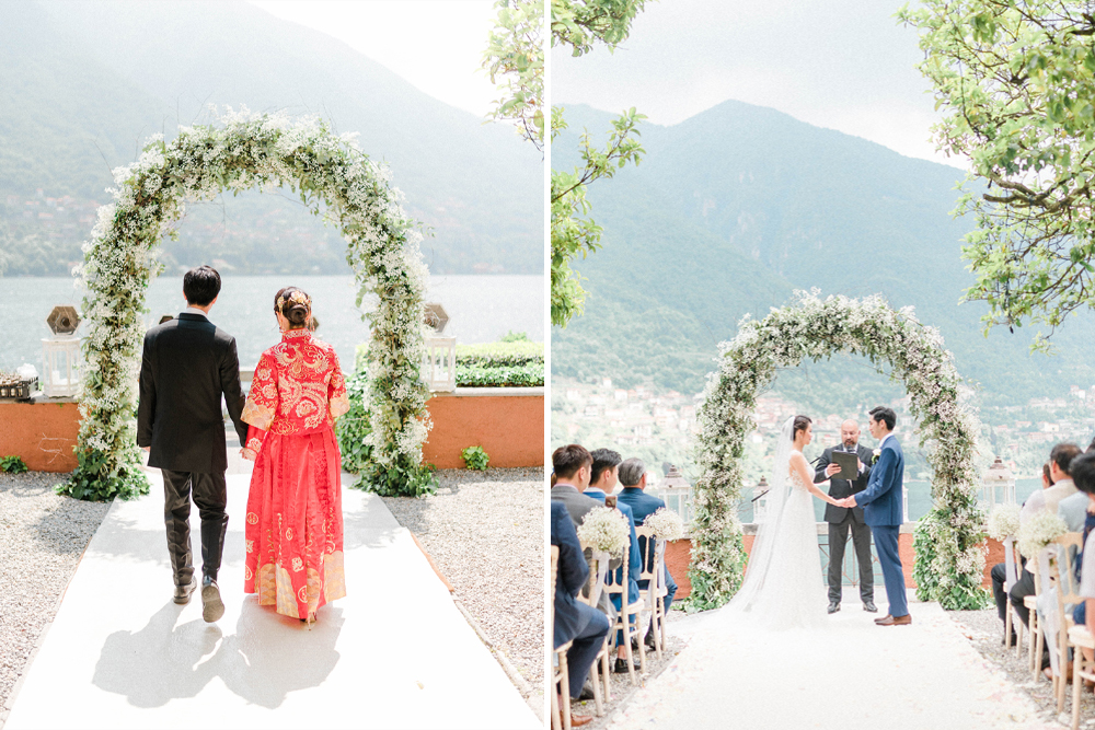 Chinese Tea Ceremony and Floral Arch For a Destination Lake Como Wedding with Two Wedding Dresses by Sarah-Jane Ethan Photography