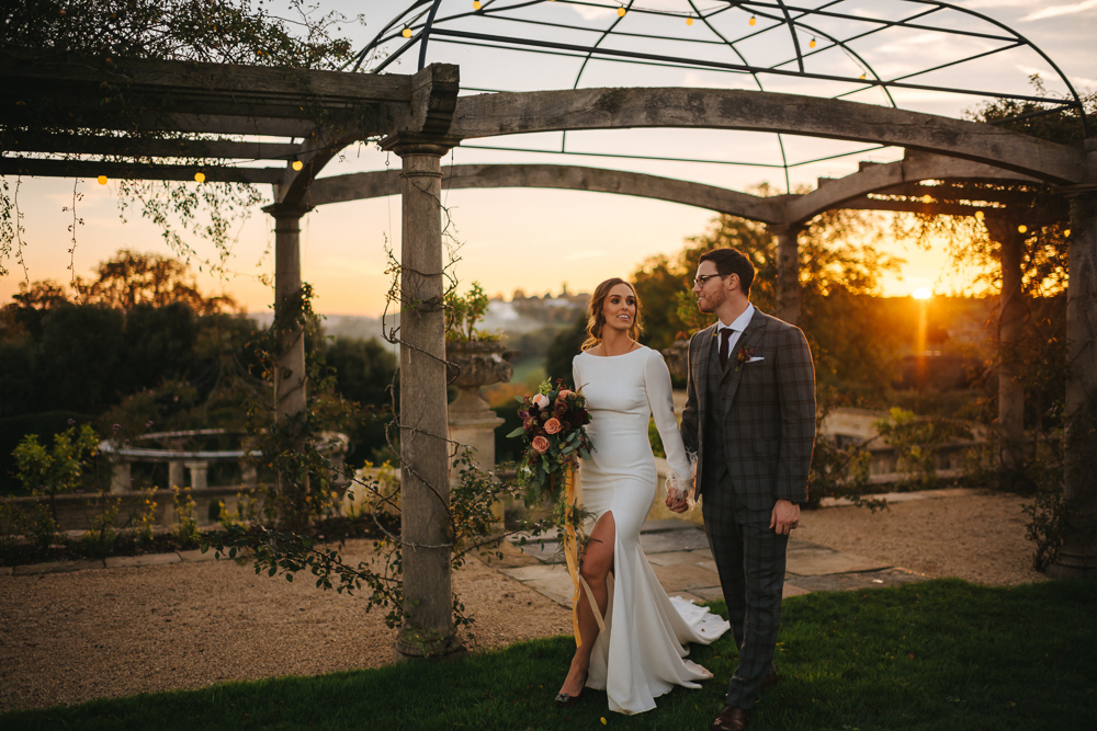 Sunset Wedding at Euridge Manor (The Lost Orangery ) with Minimalist Pronovias Wedding Dress & Burgundy Bridesmaids by Joab Smith Photography