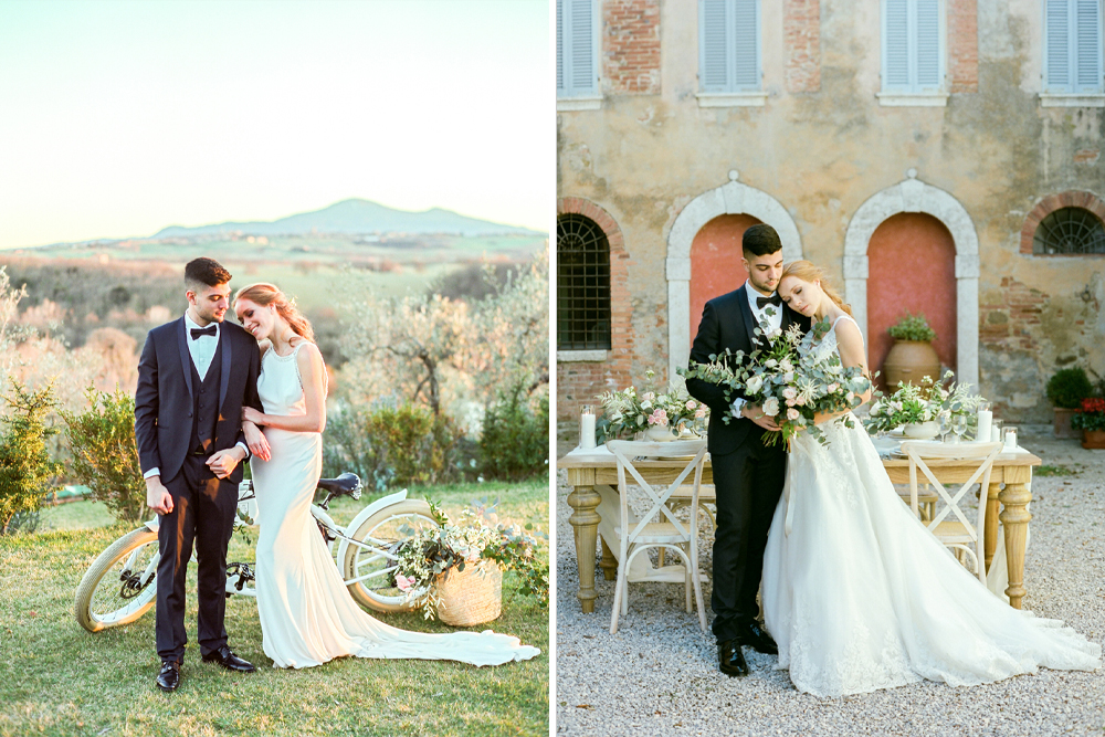 Tuscany Wedding Venue with Vintage Bicycle, Gelato Ice-Cream Truck and Romantic Wedding Flowers by Antonis Prodromou & Tuscan Wedding Events