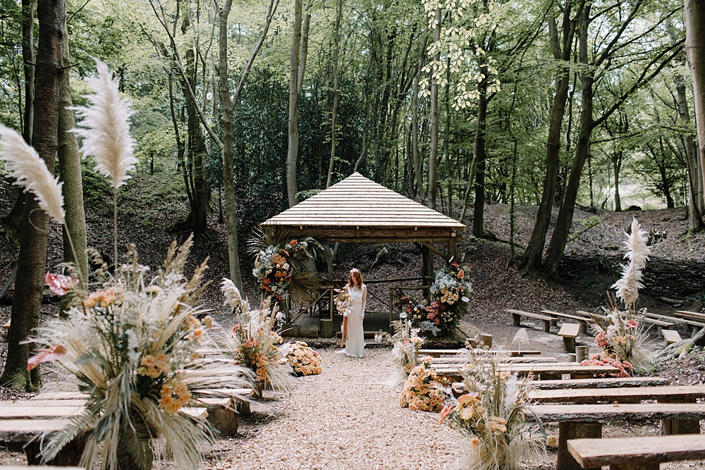 Woodland Wedding at Beech Dell, Greenacres with Dried Flowers in Natural & Rust Tones and Stylish Bridal Wear by Coco & Kat and Rebecca Goddard Photography