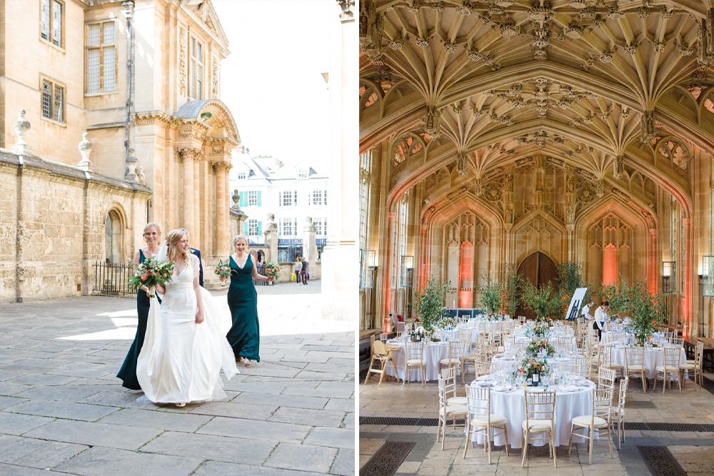 Bodleian Library Wedding in Oxford with Bride in Sassi Holford Tamara Wedding Dress and Bridesmaids in Forest Green Jenny Yoo Dresses by Lucy Davenport