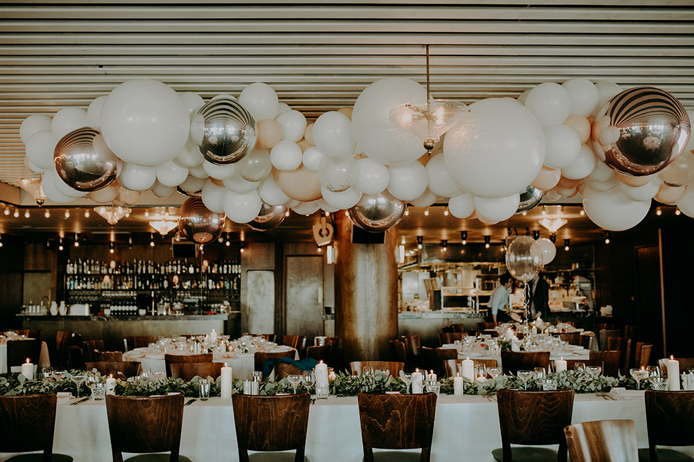 Stylish Balloon Cloud Wedding Decor at Soho House London with Bride in Sassi Holford Separates and Bridesmaids in Nude Ghost Dresses by Irene Yap Weddings