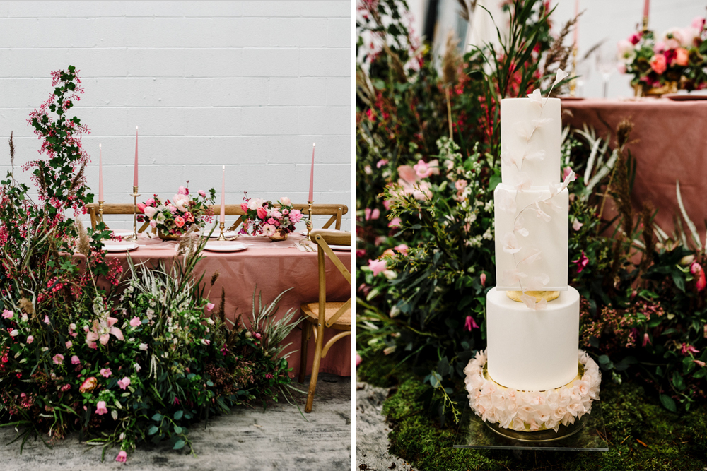Deep Pink Floral Wedding Inspiration at Hinterlands Industrial Wedding Venue with Stylish Details and Wedding Stationery by Amy Faith Photography
