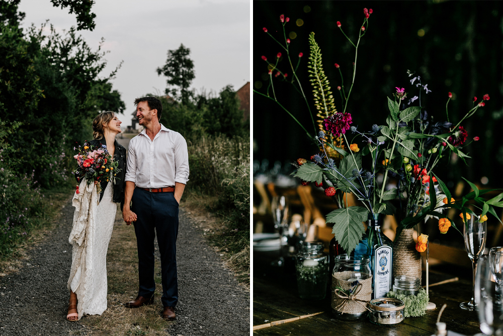 Kingshill Barn, Elmley Nature Reserve with Colourful Flowers and Foliage, and Bride in Made with Love Wedding Dress and Leather Jacket by Epic Love Story