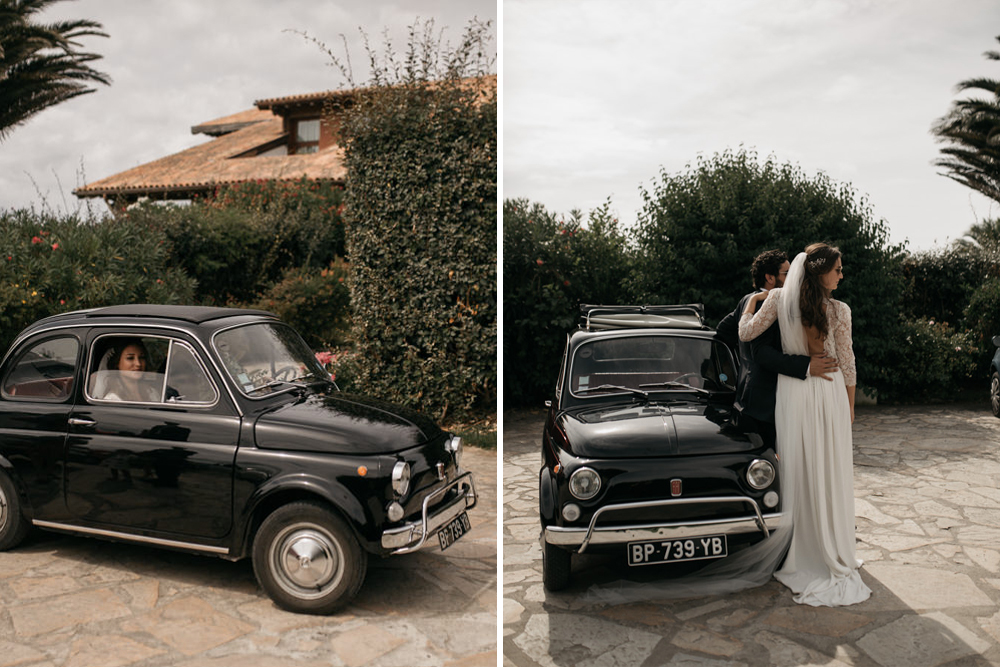 Black Fiat 500 Wedding Car for a Chic Destination Wedding at Maison Tamarin, France with V BackDonatelle Godart Wedding Dress by Coralie Monnet Photography