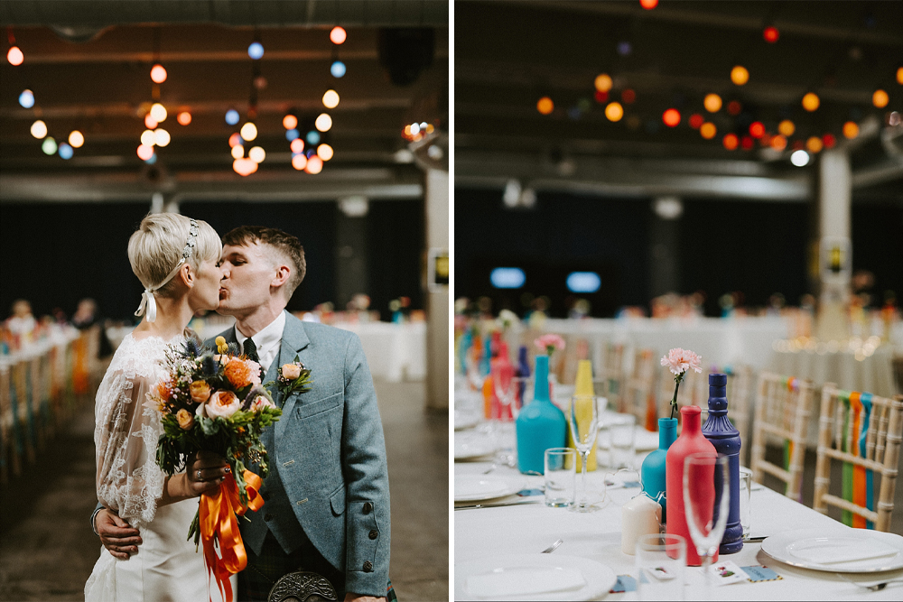 Vibrant Glasgow Wedding at SWG3 with Spray Painted Centrepiece & Ribbon Decor and Bride in Sassi Holford Wedding Dress with Lace Cape by Tub of Jelly
