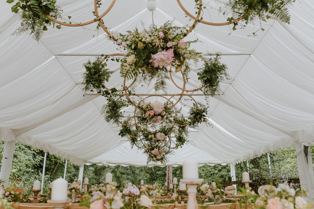 Rustic Wedding with Flower Hoop Decor at Streamcombe Farm, Somerset Planned & Styled by Rustic Rentals. Photographed by Nick Walker Photography