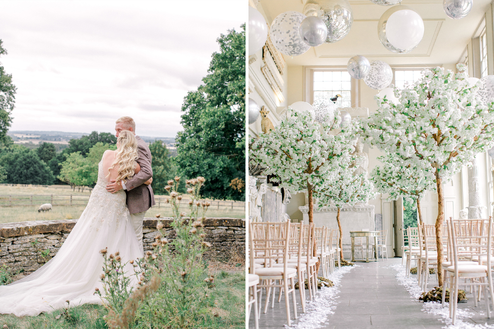 Romantic Aynhoe Park Wedding with Pastel Pink Flowers, Needle & Thread Bridesmaid Dresses, Acrylic Signs & Blossom Trees Lining the Aisle by Lucy Davenport