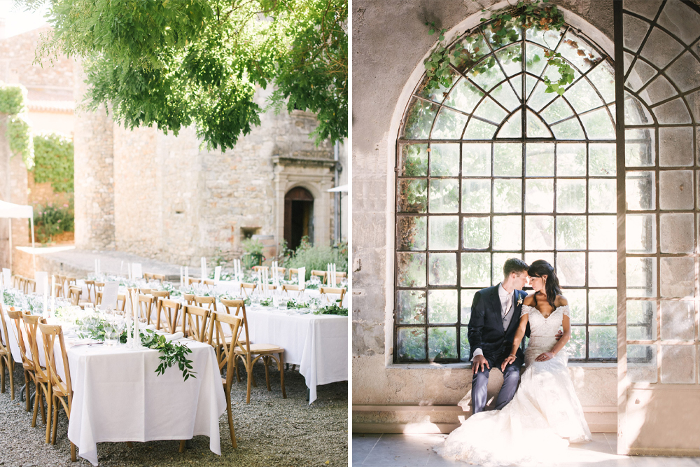 French Chateau Wedding at Chateau d'Agel the Loire in France with Bride in Bardot Lace Wedding Dress and Greenery Decor by Hannah Duffy Photography