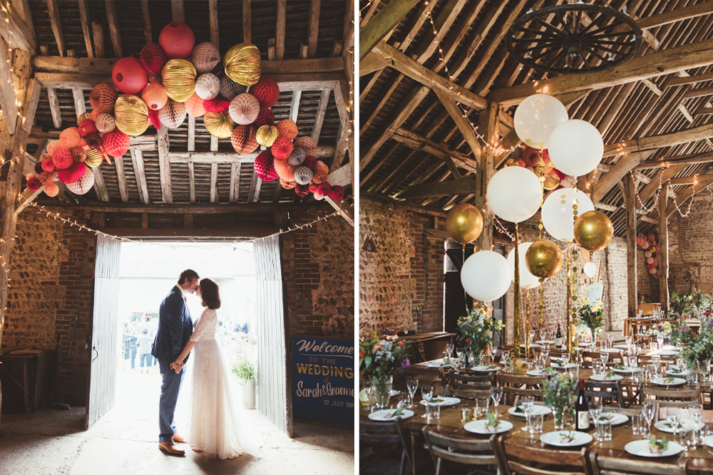 Pom Pom Wedding Decor Fairy Lights And Balloons For A Rustic