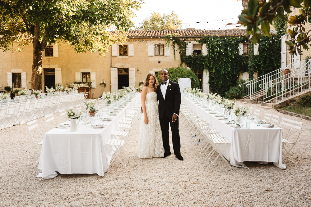 Destination Wedding at Chateau de Lartigolle in France with Bride in Jesús Peiró Wedding Dress and Groomsmen in Tuxedo's by Darek Smietana Photography