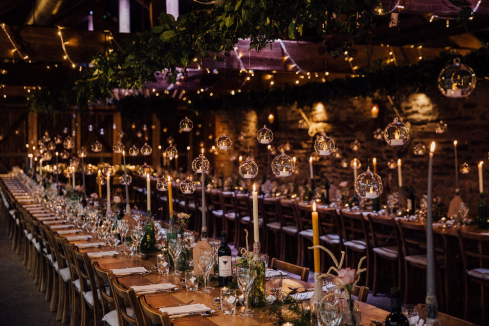 Candlelit wedding breakfast