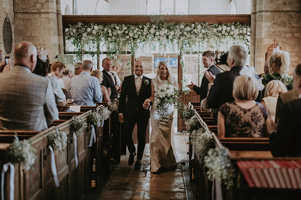White and Green Church Wedding Flowers and Marquee Reception at East Afton Farmhouse on the Isle of Wight by Jason Mark Harris & Harris Films