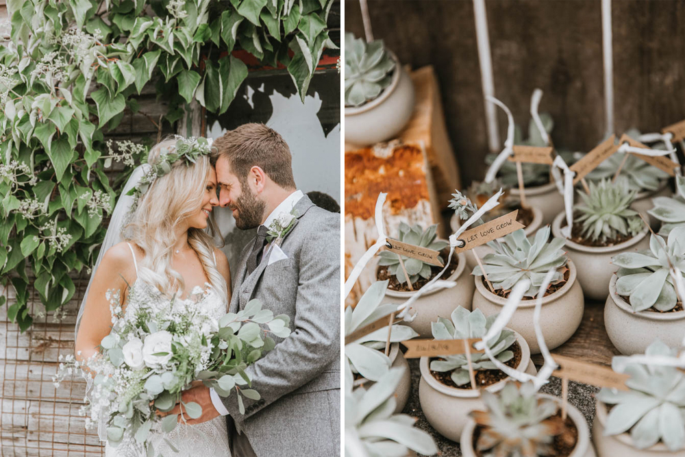 Hand Grown Succulent Wedding Favours for an Outdoor Bohemian Wedding at The Green in Cornwall by Wide Tide Weddings Photography