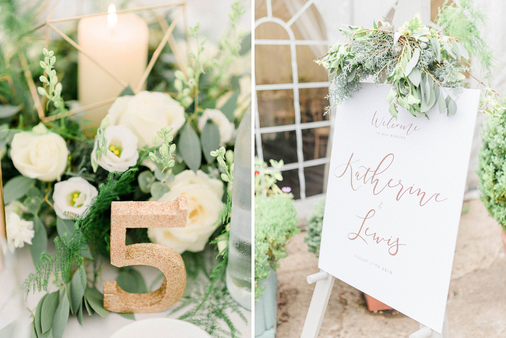 Gold Glitter Table Numbers for Wedding at Monkton Barn in Marlow with White and Green Flowers & Confetti Canon Moment by Sarah-Jane Ethan Photography