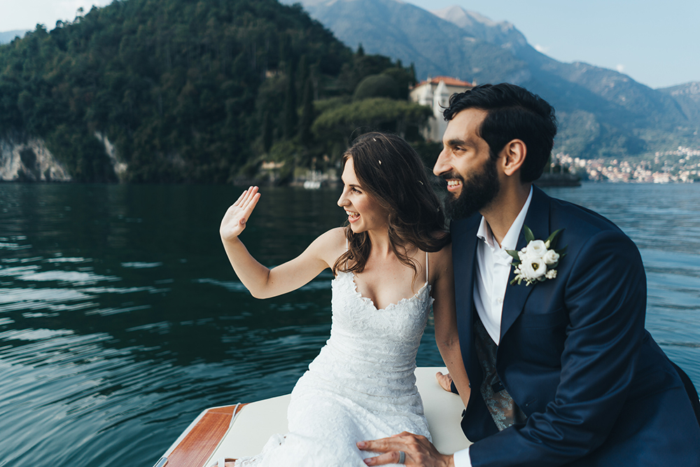 Lake Como Elopement Planned by Wedding Box Lake Como with Bride in Mia Grace Loves Lace Wedding Dress by Miss Gen Photography