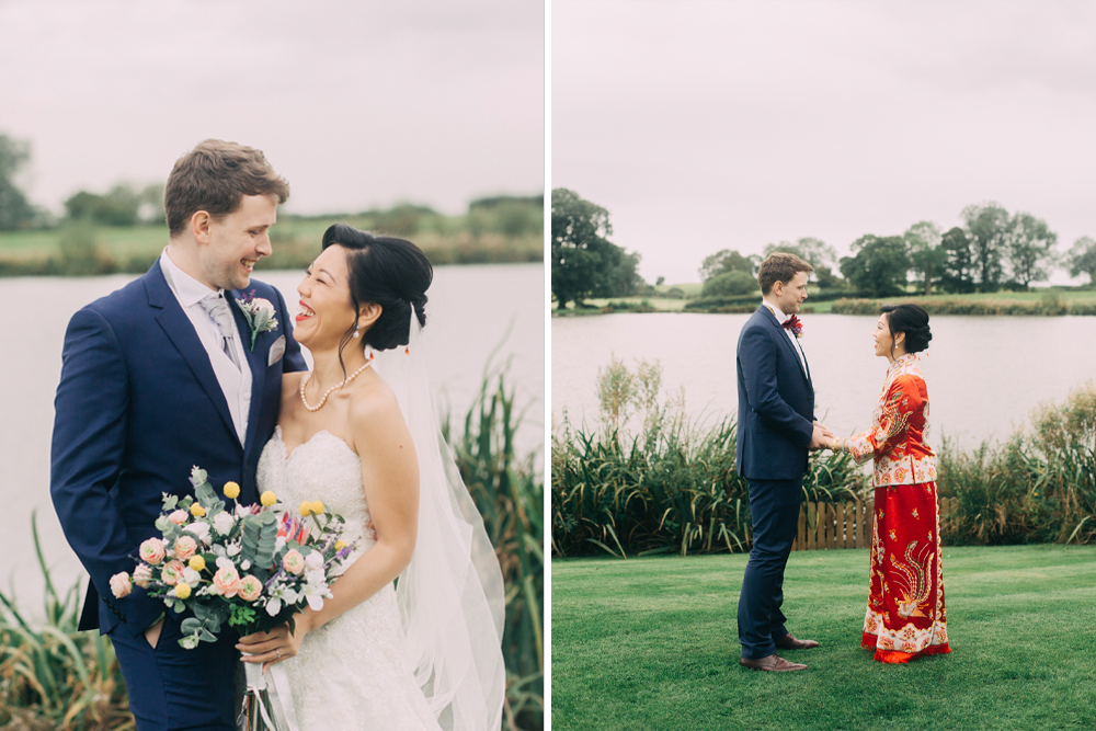 Chinese Wedding Dress & Classic White Bridal Gown for a Fusion Wedding with Chinese Tea Ceremony at Sandhole Oak Barn by Jodie Flackett Photography