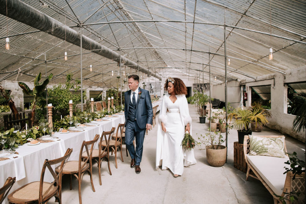 Galician Glasshouse Wedding Venue with Cactus & Orchids Botanical Plants, Wicker Lamps and Bride in Cape and Trouser Suit by AHR Photos