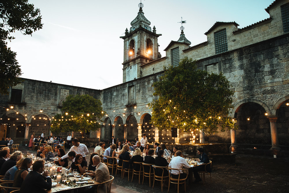 Portugal Wedding Planned by Como Branco Weddings at a Former Cisterian Monastery with First Look and Outdoor Reception Covered in Fairy Lights by Lyndsey Goddard Photography