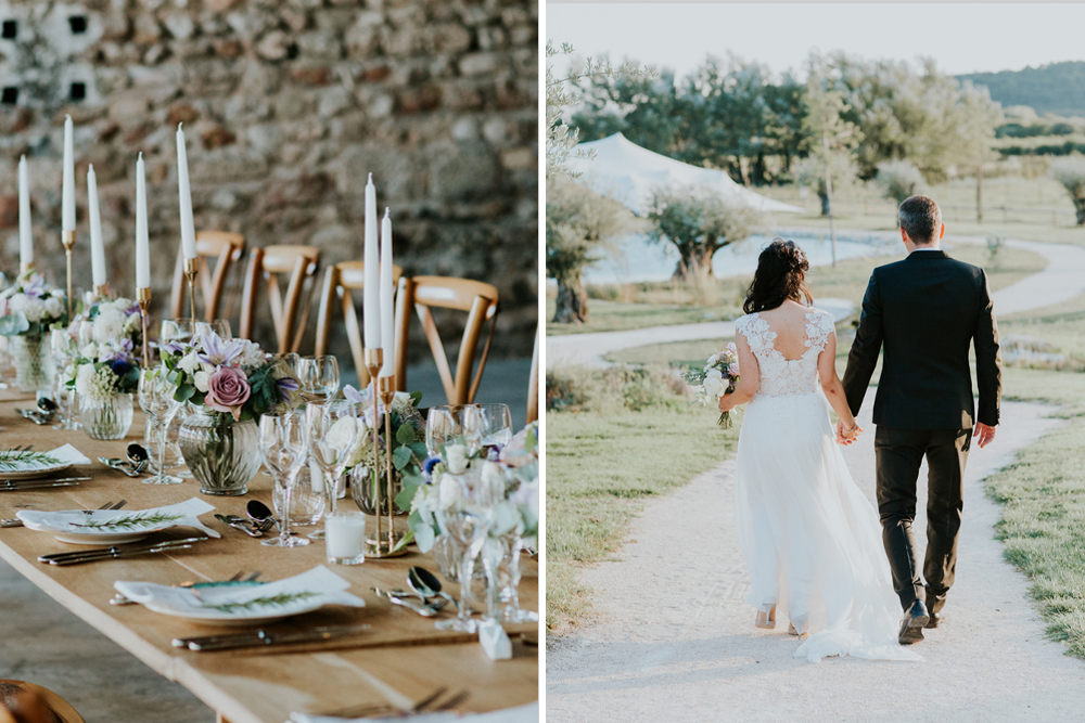 Provence Wedding with Caroline Castigliano Appliqué Wedding Dress and Lilac Flowers and Taper Candle Barn Reception Decor by Photography by Chloe