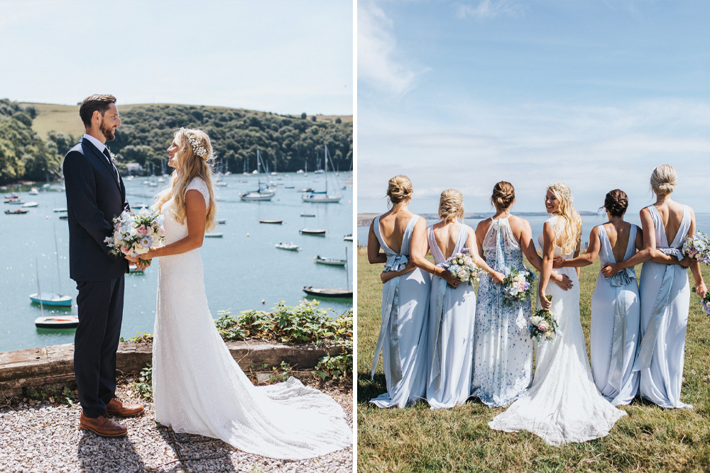 Coastal Wedding in Devon with Marquee Reception by The Sea Decorated with Blue Colour Scheme and DIY Decor by Lizzie Churchill Photography