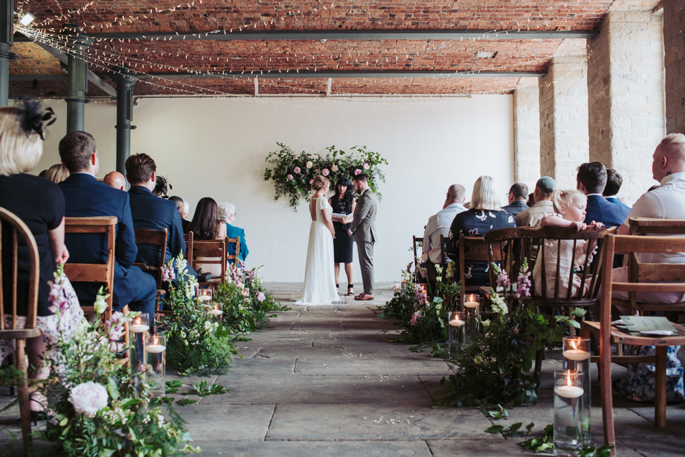 Wedding Aisle Flowers with Dahlias, Peonies and Foliage at The Arches at Dean Clough Mills in Halifax by Fox Tail Photography and Tea 4 Two Films