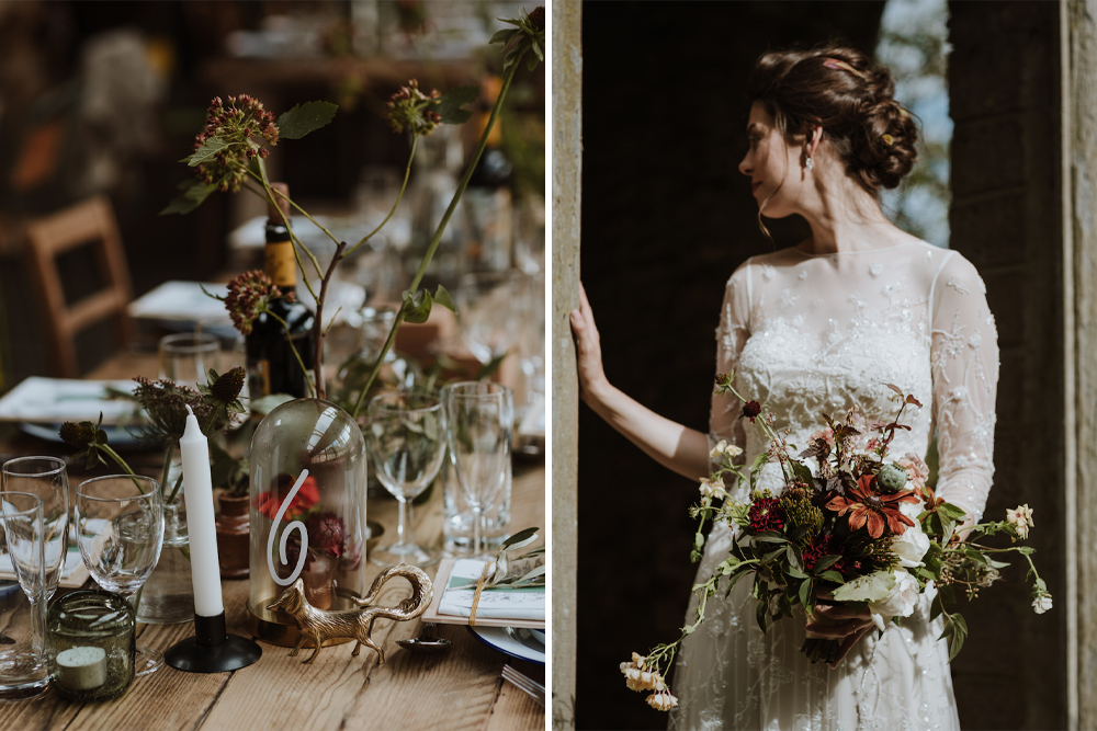 Errol Park Wedding in Perthshire Scotland with Woodland Theme Styled by Lemonbox, Tartan Kilts and Beaded Wedding Dress by Caro Weiss Photography