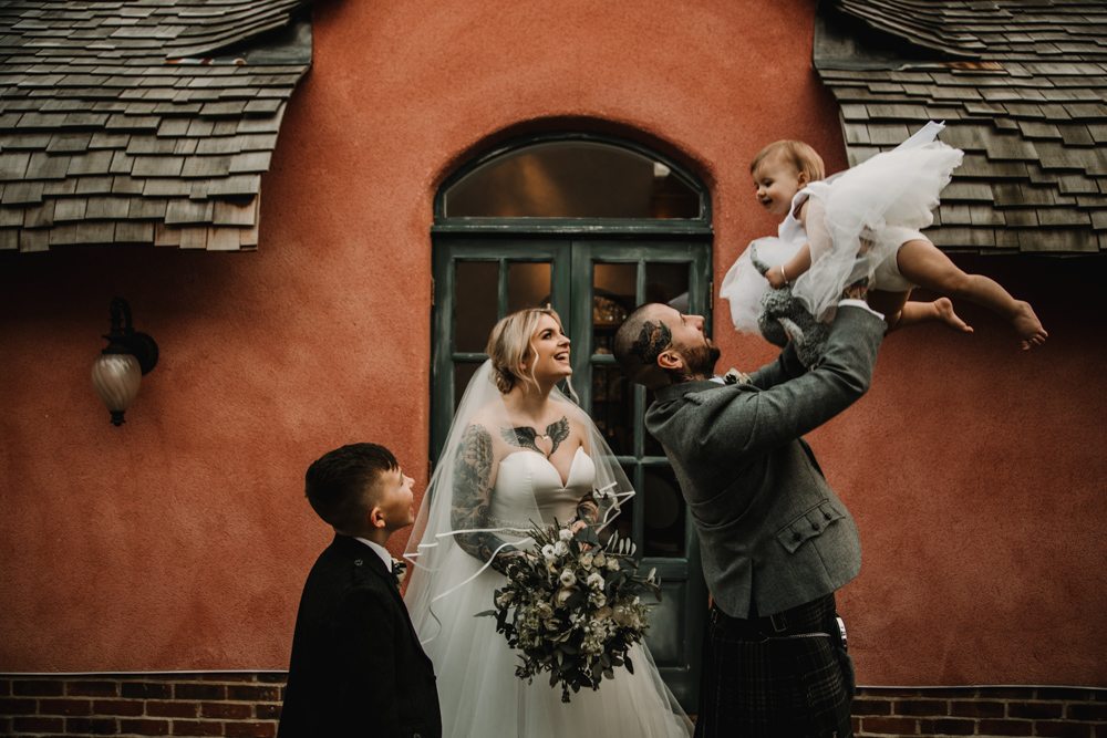 Intimate Wedding at Le Petit Chateau in Northumberland with Tattooed Bride in an Essense of Australia Mermaid Wedding Dress by Carla Blain Photography
