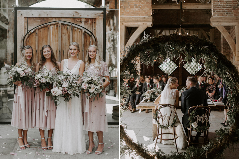 Shustoke Barn Wedding with Bride in Charlie Brear Carenne Dress with Corette Lace Overdress And Emmy London Belt by Grace & Mitch Photography