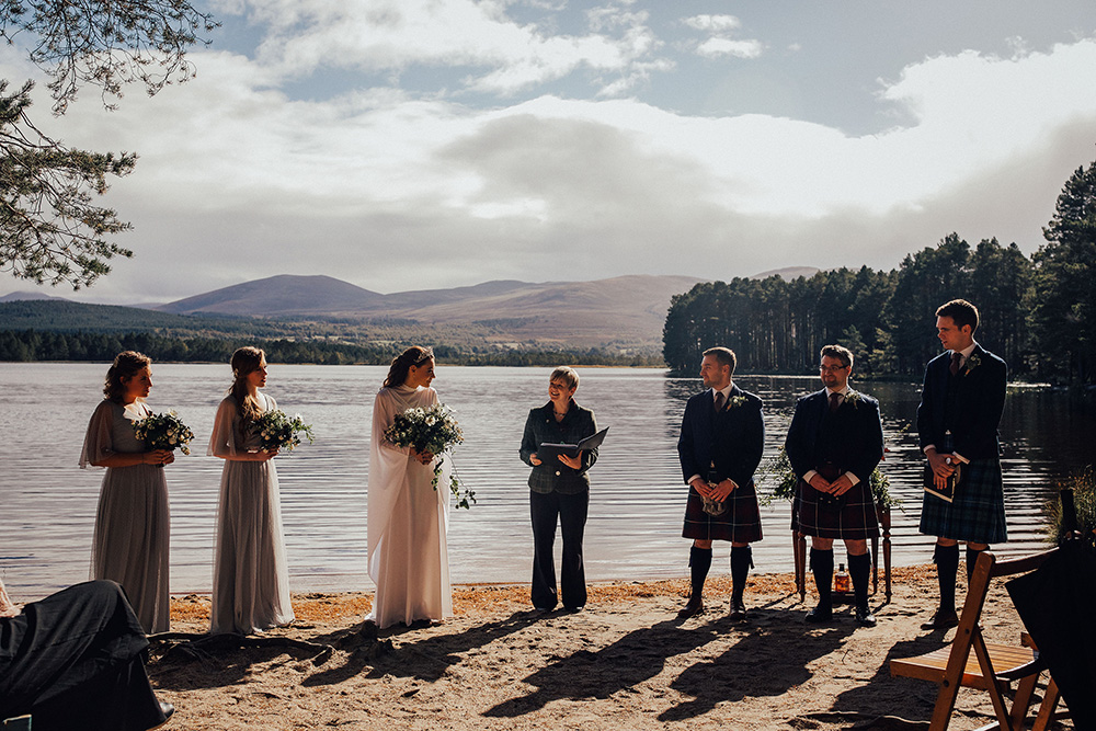 Quaich Ceremony at Loch Garten in Scotland with DIY Village Hall Wedding Reception and Bride in Vintage Wedding Dress by PJ Phillips Photography