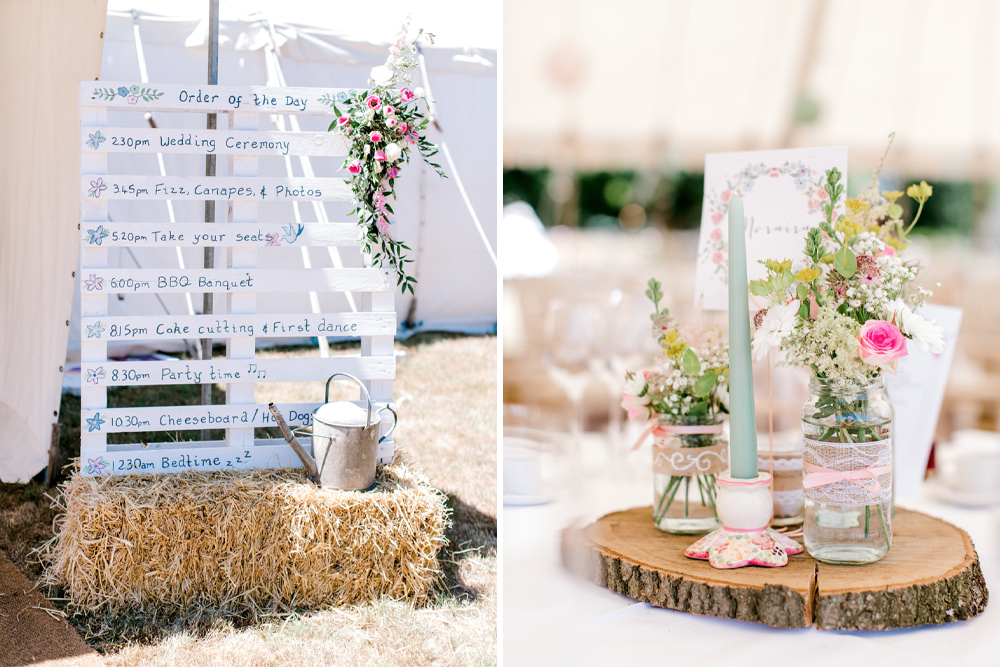 Homemade Wedding Decorations for a Pastel Pink At Home Marquee Wedding with DIY Wooden Palette Sign & Dana Bolton Wedding Dress by Helen Cawte Photography